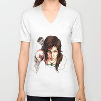 tomb raider V-neck T-shirts featuring Tomb Raider: The Survivor by Dale Dupre