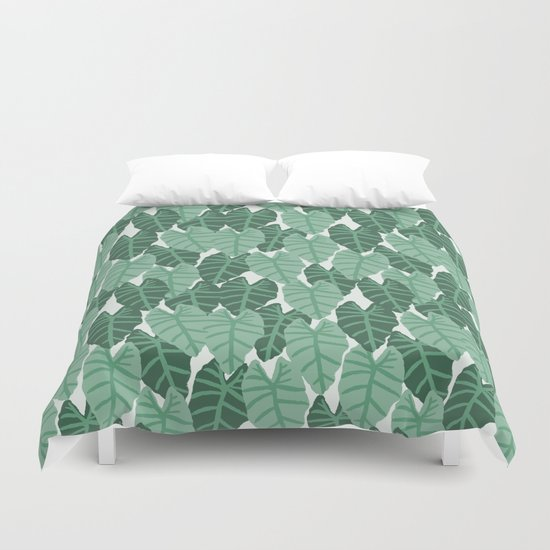 Alocasia indoor house plant hipster watercolor plant pattern botanical leaves green painting home Duvet Cover