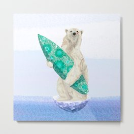 Polar bear & Surf (green) Metal Print