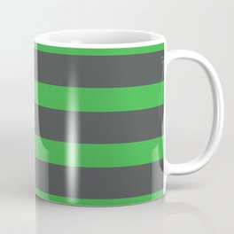 Green Stripes on Gray Background Coffee Mug