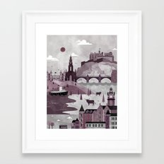Edinburgh Travel Poster Illustration Framed Art Print