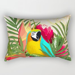 Parrot Tropical Bouquet Golden Marble Rectangular Pillow