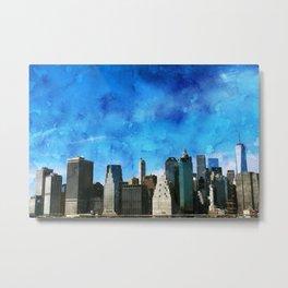New York City, Blue Sky Metal Print