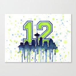Seattle 12th Man Fan Art Seattle Space Needle Canvas Print