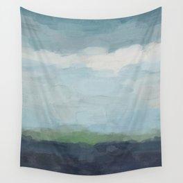 Navy Teal Aqua Sky Blue Green Abstract Wall Art, Painting Art, Nature Horizon, Modern Wall Wall Tapestry
