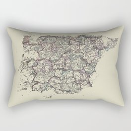 Spain antique map mottled faded digitally modified Rectangular Pillow