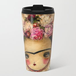Frida In A Brown And Green Tehuana Mexican Traditional Dress Travel Mug