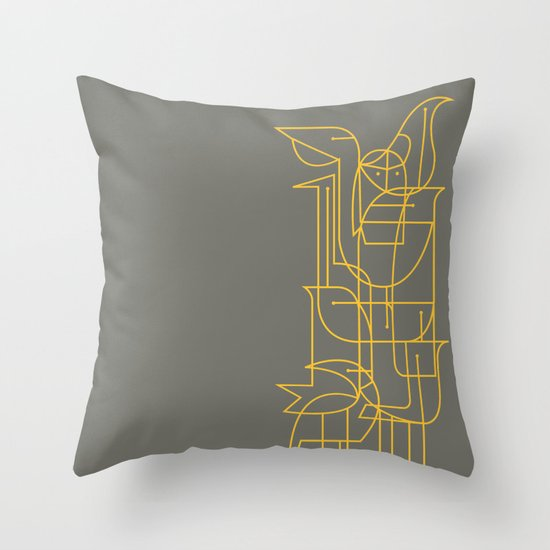 Geometric Birds Throw Pillow