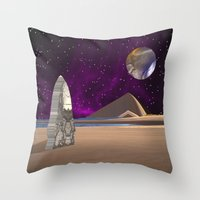 watchmen Throw Pillows featuring Purple light swirls round and round thinking thoughts that make no sound by Donuts