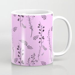 Sprigs with flowers on pink. Coffee Mug