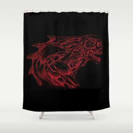 Skull creature (red line) Shower Curtain