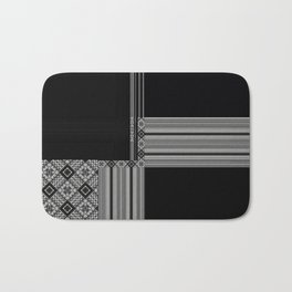 Multiple Black White Geometric Patterns Bath Mat
