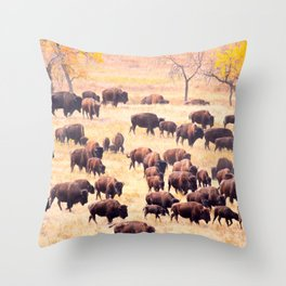 Buffalo Roundup at Custer State Park Throw Pillow