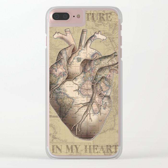 adventure heart-world map 3 Clear iPhone Case