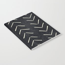 Mudcloth Big Arrows in Black and White Notebook