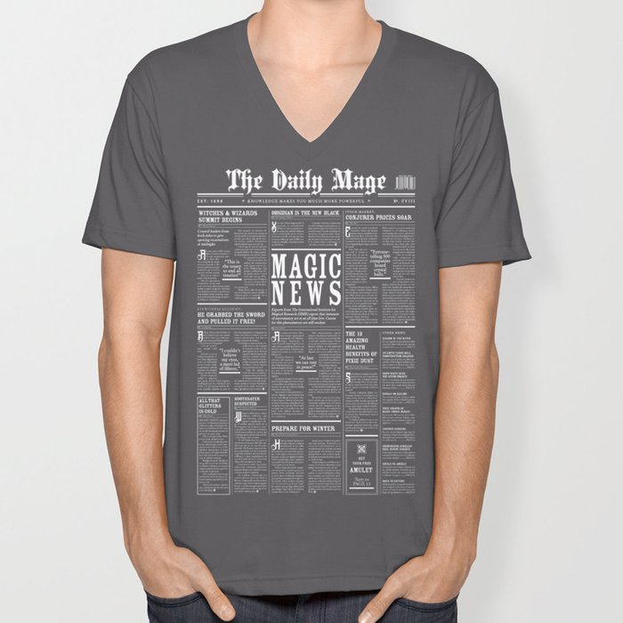 The Daily Mage Fantasy Newspaper II Unisex V-Neck
