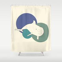 dolphin Shower Curtains featuring Dolphin by Rebekhaart