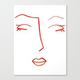 Orange Sleeping Beauty Minimalist Abstract Womankind Minimal Line Drawing Womans Face Canvas Print