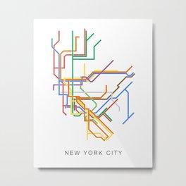 Minimalist New York City NYC Metro Map Metal Print