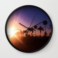 coachella Wall Clocks featuring Coachella Sunset by Laura Hanson