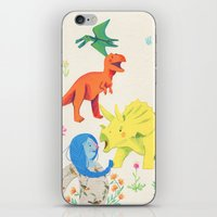 dinosaurs iPhone & iPod Skins featuring Dinosaurs by Maria Garcia