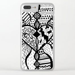Free Hand Drawn Heart with Random Patterns Clear iPhone Case