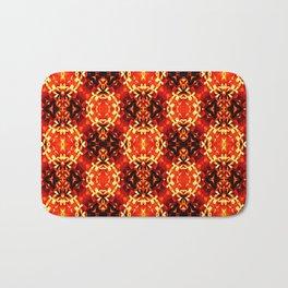 Orange black geometric ornament retro vintage pattern Bath Mat