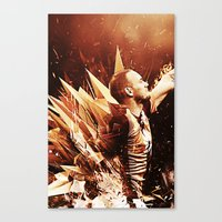 wesley bird Canvas Prints featuring Wesley Sneijder by Max Hopmans / FootWalls