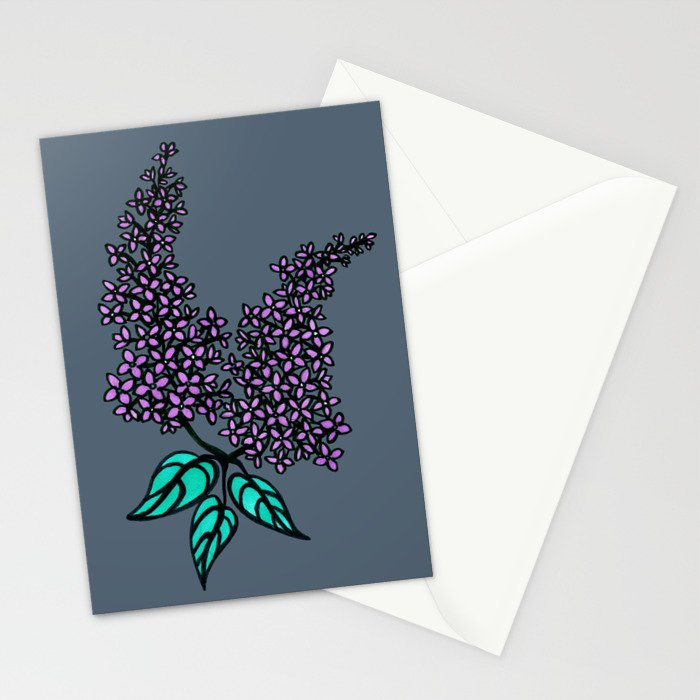 Lilac Grey Stationery Cards