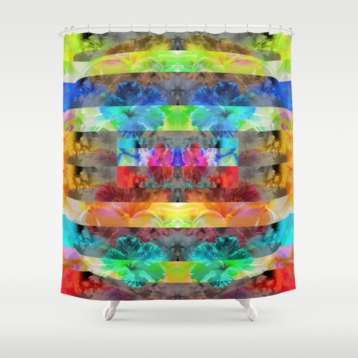 Vibrant Tropical Floral Stripes Shower Curtain By Carlieamberpartridge