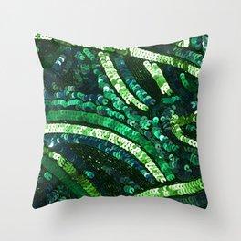 Green Art Deco Sequins Throw Pillow
