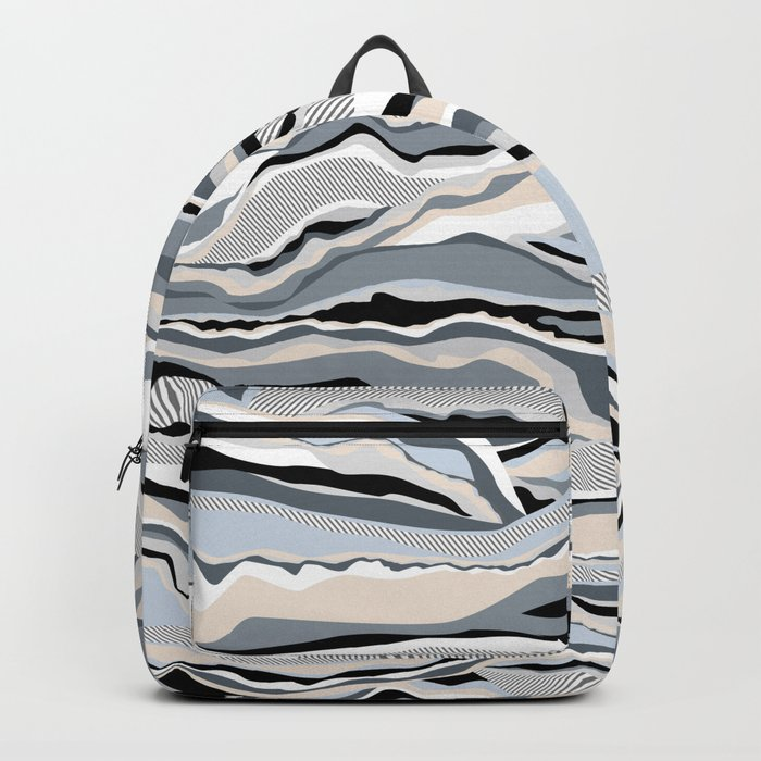 Black and white scandinavian minimal line pattern Backpack