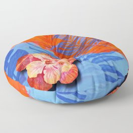 orange blue toned tropical flowers and leaves on marble abstract background Floor Pillow