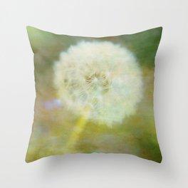 Dandelion Wishes Yellow Throw Pillow