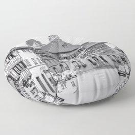 Stein am Rhein,Switzerland - Black and White Floor Pillow