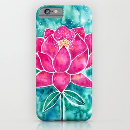Sacred Lotus – Magenta Blossom with Turquoise Wash iPhone Case