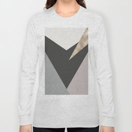 Abstract geometrical faux gold black gray triangles pattern Long Sleeve T-shirt