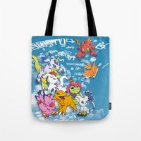 digimon Tote Bags featuring Digimon Adventure Partners by Jelecy