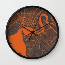 Perth map orange Wall Clock