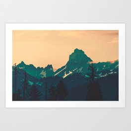Cascade Mountains Sunset Art Print