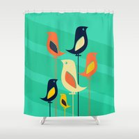 mid century Shower Curtains featuring Mid Century Birds by Sam Osborne