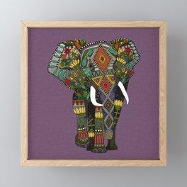 floral elephant violet Framed Mini Art Print
