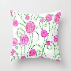 Flowers and Vines Throw Pillow