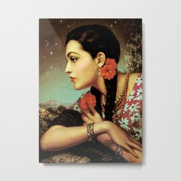 Mexican Calendar Girl in Profile by Jesus Helguera Metal Print