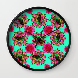 GREEN PEACOCK & PINK ROSE PATTERN ART Wall Clock