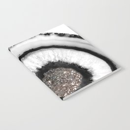 White Agate with Silver Glitter Glam #1 #gem #decor #art #society6 Notebook