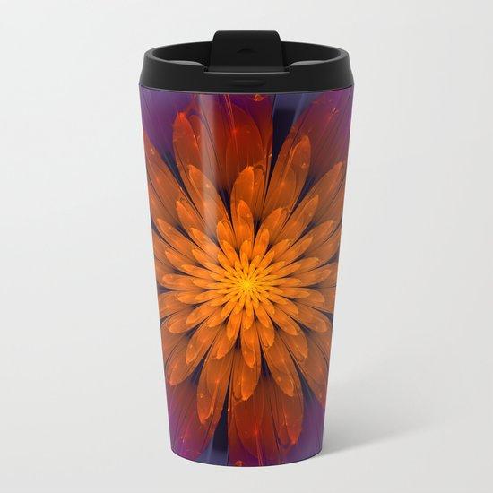 Fiery Fantasy Flower, fractal abstract Metal Travel Mug