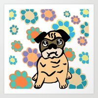 hippy Art Prints featuring Hippy Pug  by lindseyclare
