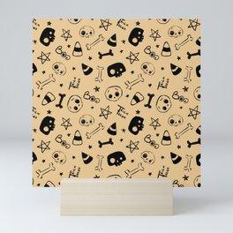 Skully Halloween pattern Mini Art Print