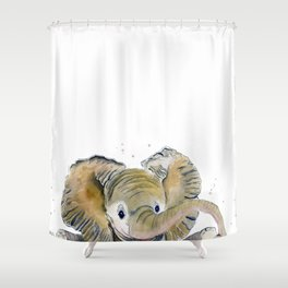 Hello,Anybody At Home? - Baby Elephant Shower Curtain